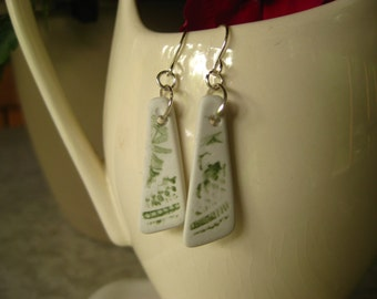 Broken China  recycled earrings celery green and white floral transferware china TrAsH gLaSs