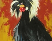 Rooster 725 16x20 inch original animal portrait rooster oil painting by Roz