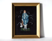 Vintage Needlepoint Picture Blue Boy Wall Hanging Picture in Gold Frame Retro Kitsch Fiber Art Reproduction Handmade Crafts Black Background