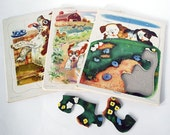 1950s Playskool Cardboard Tray Puzzles Vintage Dogs and Puppies Pokey Little Puppy Little Golden Book Mid Century Toy Golden Press Animals