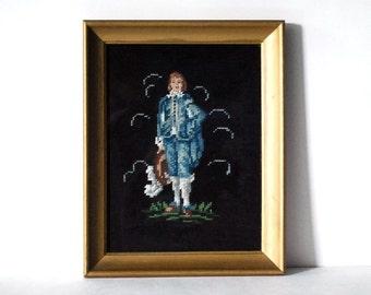Needlepoint Picture, Blue Boy Wall Hanging, Vintage Fiber Art, Gold Frame, Man Portrait, Handmade Craft, Black Background, Hollywood Regency