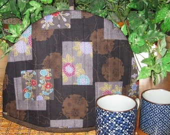 Quilted Thermal Lined Teapot Cozy Patchwork Look Design Japanese Asian Fabric