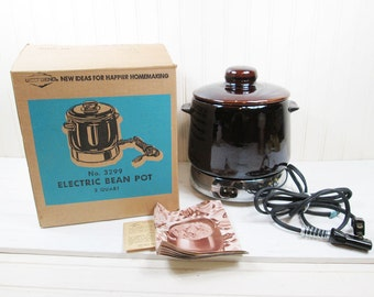 Vintage West Bend Electric Bean Pot Brown Ceramic Serving Crock In Box Works 3299
