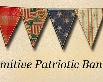 Primitive PaTriOtiC Americana Banner- RuSTiC GRuNGe Flags Pennants- INSTaNT DOWNLoAD- Printable Collage Sheet JPG Digital File