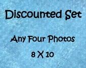 Discounted photo set, Set of 4 prints, 8x10 photo set, 8x10 print set, 4 photo set, custom photo set, sale photo set, discounted art