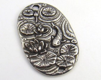 Koi pond 2 hole link, Green Girl Studios, oval flat pewter charm component 37mm