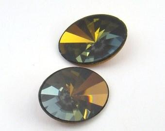 2 pcs oval flat top crystal stones, Swarovski gold coating, 18mm x 13mm