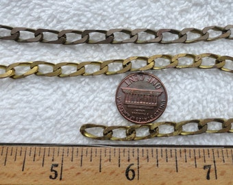 8 Feet of Vintage Brass Curb Chain, Almost 5mm x 11mm, Filed Edges, Soldered Links