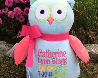 Owl cubbie with your choice of initials, name or birth information