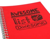 Awesome List of Awesome - Letterpress Notebook, Bucket List Journal