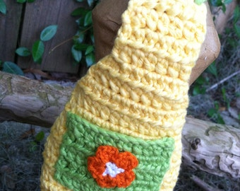 Crochet Dish Soap Bottle Apron - Yellow, Green and Orange