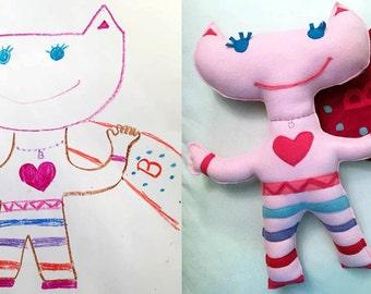 Custom kid's drawing stuffed animal