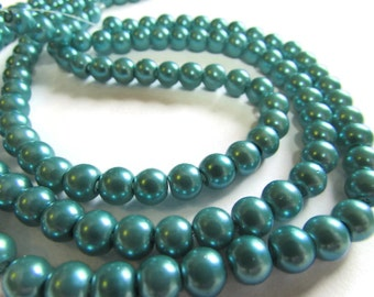 10 Inch Strand of 6 mm Teal Green Glass Pearl Beads Faux Pearl Beads
