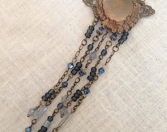 Stevie Nicks Forever Beaded Fringe Necklace crystal beads chains art nouveau inspired blue gray twilight sparkle