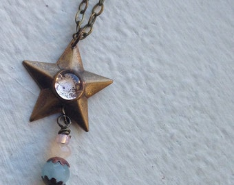 Shining Star Brass Charm Necklace Vintage brass stamping Star necklace vintage style, beachy sea glass bead pastel pink sea green
