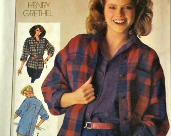 Vintage Sewing Pattern Simplicity 6983 Boyfriend Shirt  Size 8 Bust 31.5 Inches UNCUT Complete