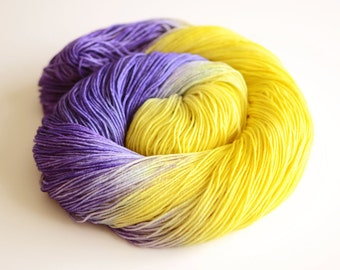 Maleficent - Self Striping Sock Yarn - Hand Dyed Fingering Weight - Sunflower Yellow and Dark Purple Blue - Merino Wool