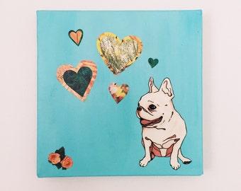 French Bulldog Painting - French Bulldog Art - French Bulldog Mixed Media Collage - French Bulldog with Hearts - Original Art - Wall Art