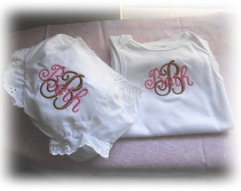 Two Piece Monogrammed Infant Pink and Brown Onesie and Bloomers/Diaper Cover Set