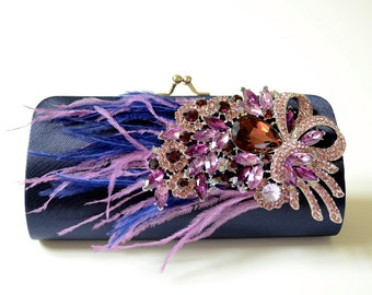 Rhinestone Clutch in Midnight Blue / Dark Navy Blue ~ Bridal Clutch ~ Bridesmaid Clutch ~ Formal Clutch ~ Purple Plum Blue Feathers ~ Sale