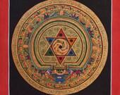 Original Hand Painted STAR Mandala, Thangka Paintingl-Non Profit-Buddhist Mandala, Nepalese Art- Tibetan Mandala