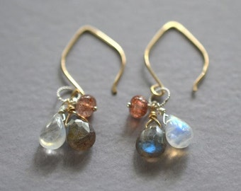 Sunstone earrings, moonstone earrings, labradorite earrings, mixed metal earrings, gemstone drop earrings