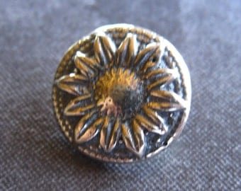Sunflower Solid Sterling Silver Button Clasp