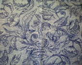 Navy Blue Poppies on White Blue Fabric Poppy Fabric Floral Fabric Blue - Cotton Fat Quarter Floral Fabrics for Quilting or Craft Remnant