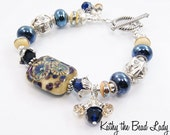 SaLe***Lampwork Bracelet - Lampwork Metalic Blue Karen Hill Tribe Silver Bead Bracelet - KTBL
