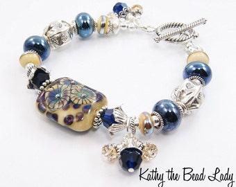Lampwork Bracelet - Lampwork Metalic Blue Karen Hill Tribe Silver Bead Bracelet - KTBL