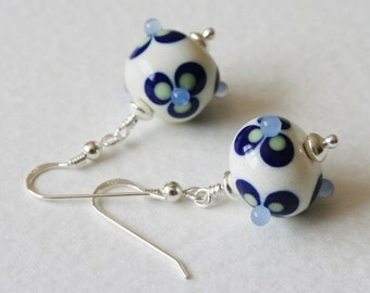 Sterling Silver Earrings Handmade Lampwork Beads Blue Cream