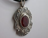 Fine silver and ruby necklace - OOAK jewelry - silver necklace