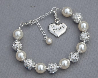 Hers Charm Bracelet, Hers Wedding Gift, Just Married Wife Gift, New Wife Jewelry, Brides Jewelry