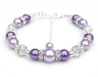 Bridesmaid Jewelry, Purple and Lavender Pearl Rhinestone Bracelet, Bridesmaid Gifts, Bridal Party, Bling Bracelet