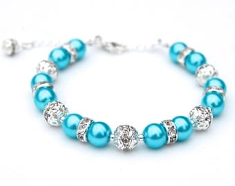 Bright Turquoise Bracelet, Bridesmaid Jewelry, Wedding Jewelry, Summer Wedding, Beach Wedding, Bridal Party, Bridesmaid Gifts
