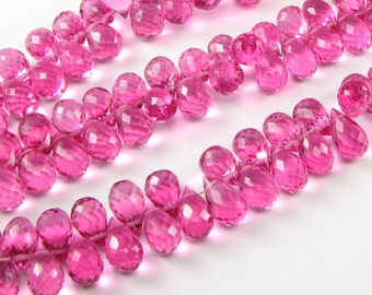 Bubble Gum Pink Quartz Faceted Teardrop Briolettes 9mm - 10mm (6 beads)