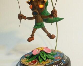 The Legend of Zelda:  Majora's Mask Deku Link Sculpture polymer clay statue ornament holder deku flower deku Link clock town face