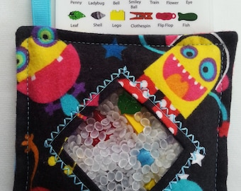 I Spy Bag - Mini with SEWN Word List and Detachable PICTURE LIST- Monster Madness