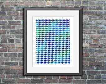 Printable poster Geometric Print Blue Houndstooth watercolor modern wall art bedroom nursery living room home decor Digital Download