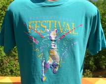 80s vintage t-shirt KENTUCKY derby festival horses churchill downs tee Large Medium souvenir horse racing