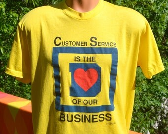 80s vintage t-shirt CUSTOMER SERVICE is the heart of business square d screen stars tee XXL xl soft thin