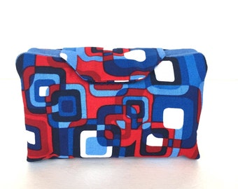 Essential oil case holds 8 vials or rollerballs Contemporary red and blue fabric