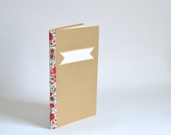 Brown & Gold Floral Journal, White Red Floral Notebook, Elegant Quick Notes, Handbound Journal