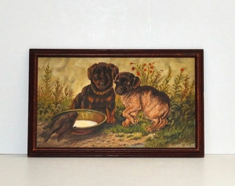 Vintage Folk Art Original Painting Puppies and Bird