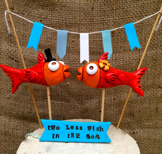 Orange Kissing Fish Folk Art wedding cake topper