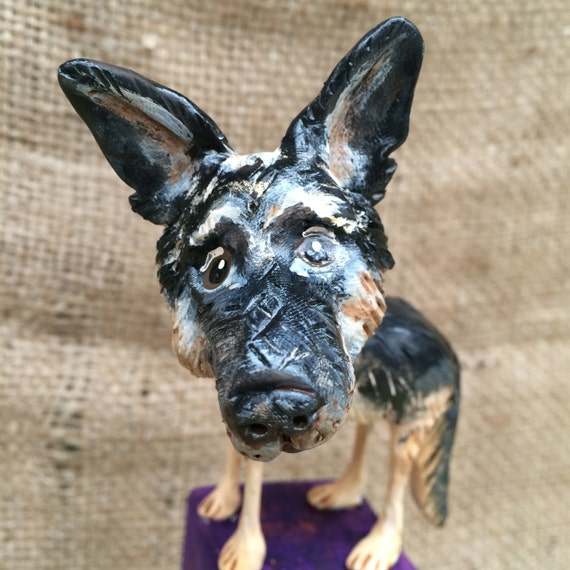 Custom Pet Portrait Dog clay folk art sculpture based on your pets photo