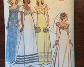 Vintage Wedding Dress Pattern 1970s Butterick 5746 Sz 10 Bust 32.5 - OH 1970s Butterick / 70s Butterick / 1970s Pattern / 70s Sewing Pattern
