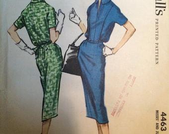 Vintage 1958 McCall's Women's Slim Dress Pattern 4463 Size 14 Bust 34 - NC - Vintage McCall's Pattern / 50s McCall's
