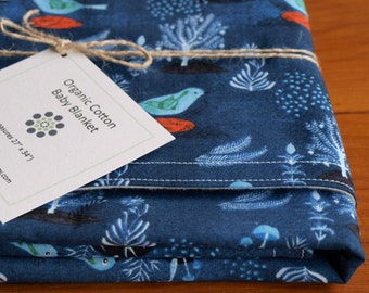 Organic Baby Blanket in POMEGRANATE BIRD, Indigo Blue Bird Organic Baby Blanket Gift, Receiving Blanket by Organic Quilt Company