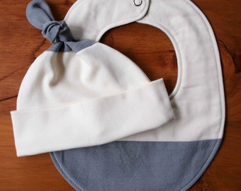 Organic Baby Hat and Bib Gift Set in SHADOW; Grey Gray and Ivory Newborn Baby Cap and Drool Bib Gift Set by Organic Quilt Company